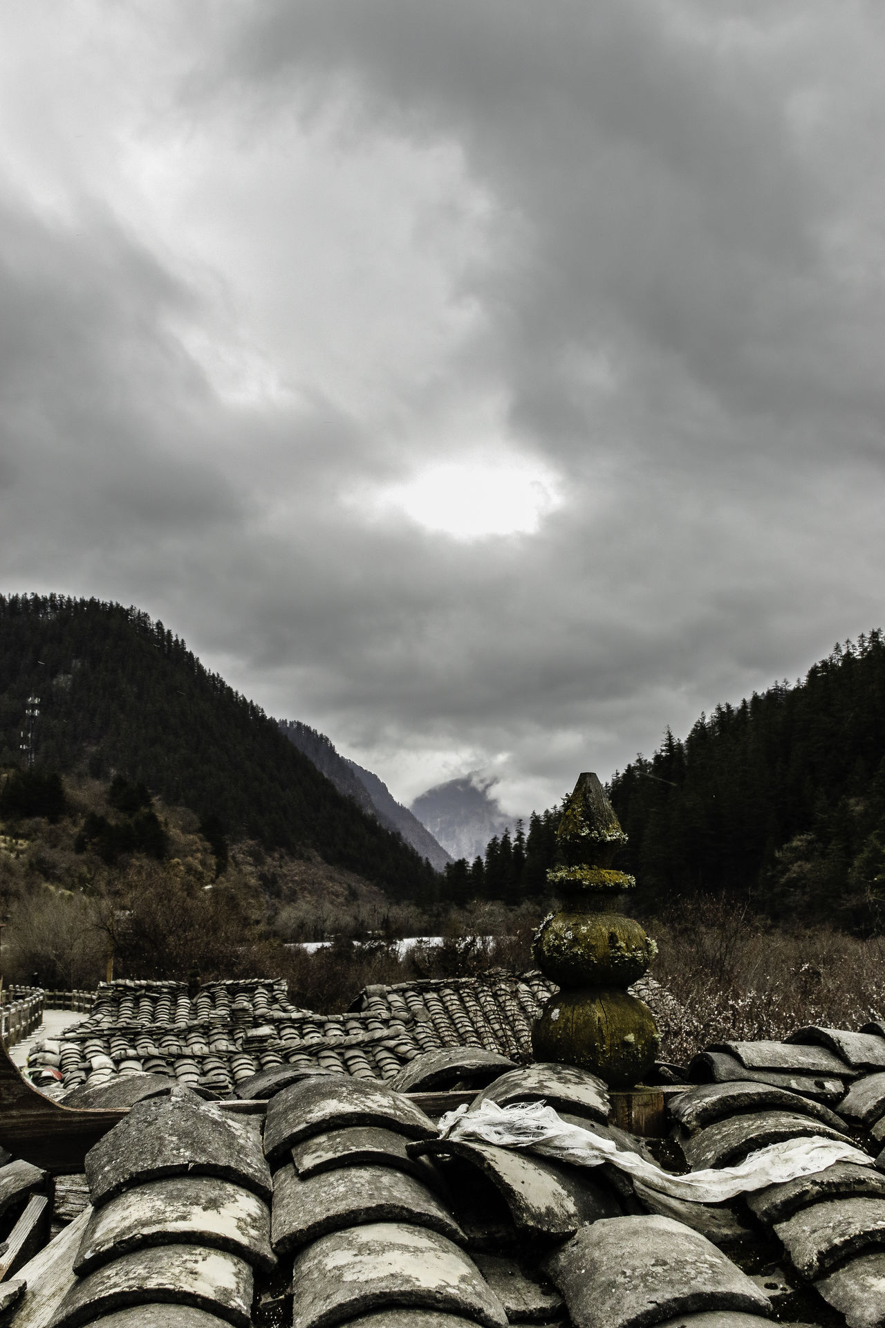 Attraction Beauty Buddhism China Cloudy Day Destination Jiuzhaigou Mountain Nature No People Outdoors Overcast Photography Rooftop Scenics Shingles Sichuan Sky Tibetan  Tourism Tourist Travel Trip Valley