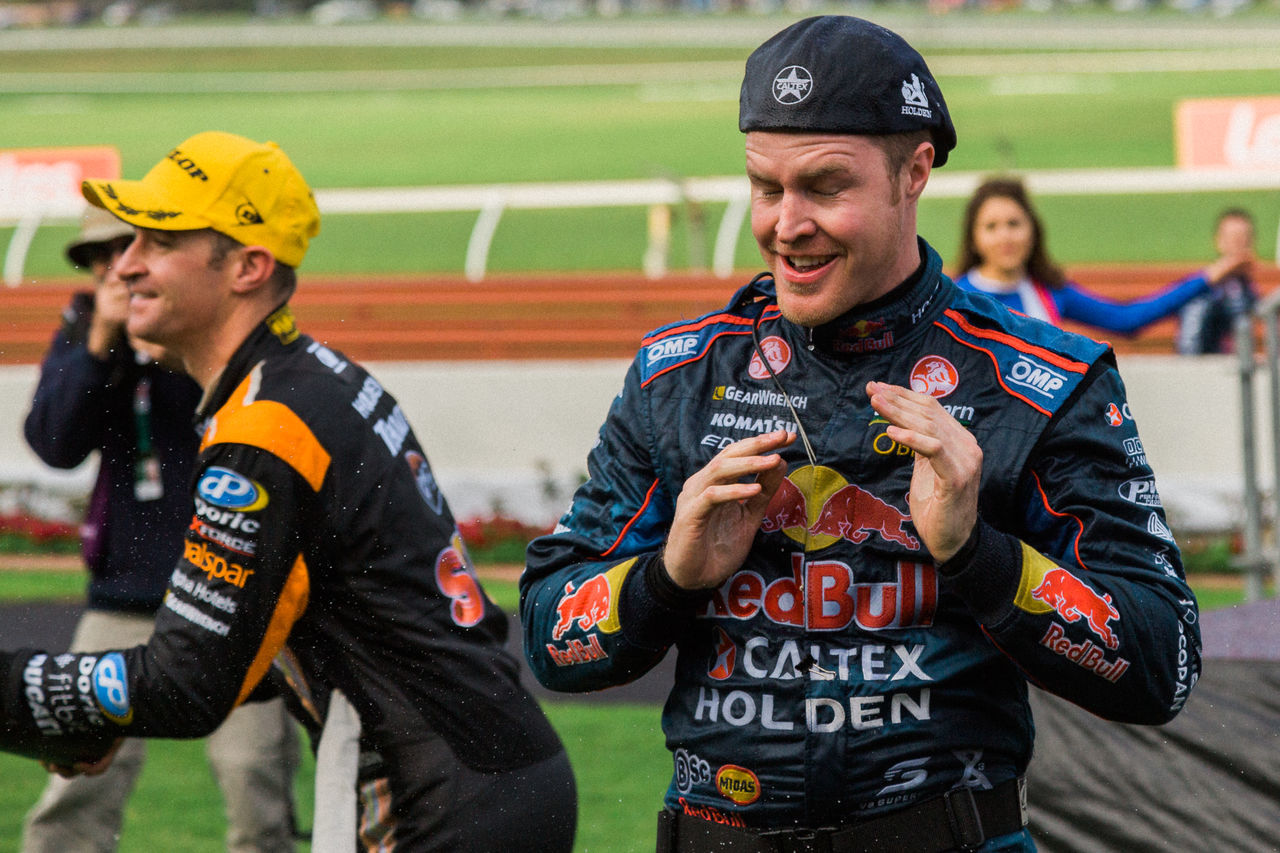 MELBOURNE/AUSTRALIA - SEPTEMBER 17, 2016: Supercars Race 20 - Sandown 500 'Retro' Endurance race at Sandown raceway. Car Fast Motor Racing Motor Sport Race Race Track Speed Supercar