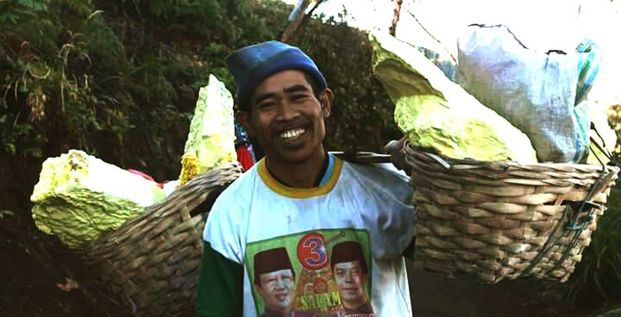 Smiling Only Men One Person Men Outdoors Young Men INDONESIA IjenCrater Java Sulfur Rock Sulfur Miners