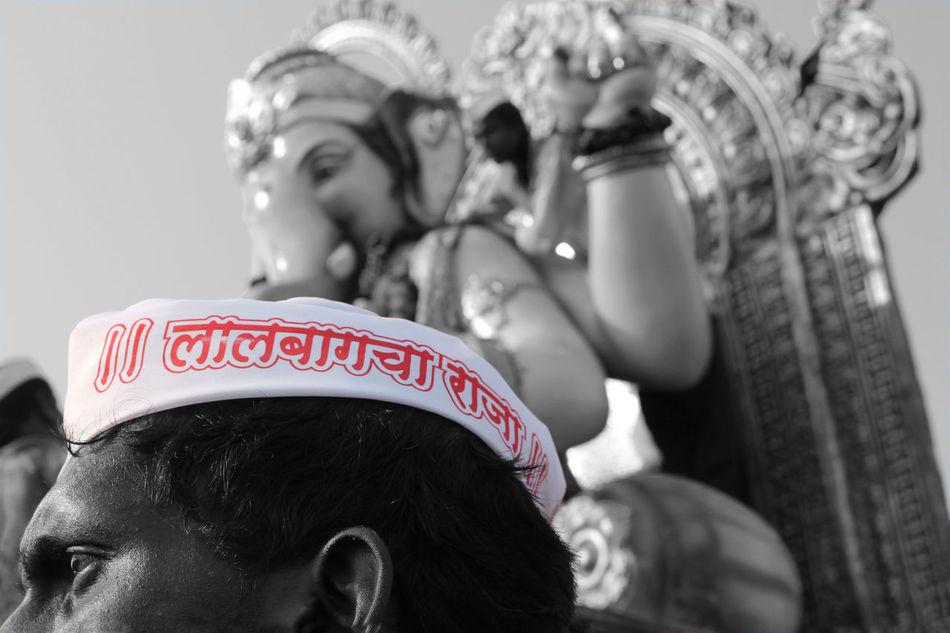 Ganesh Visarjan ('king of city' text meaning) Blak And White Close-up Day Festival GaneshChaturthi Ganeshfestival GanpatiBappaMorya Lalbaghcharaja MumbaiDiaries Mumbaikar Murti Statue Text Visarjan