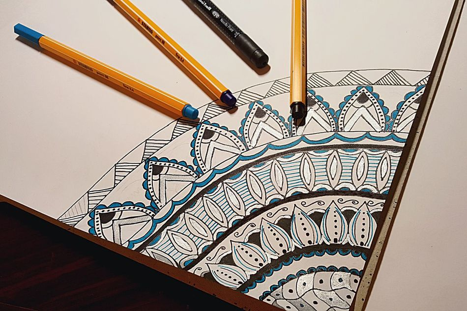 Mandala Drawing Drawings ArtWork Art Lines And Shapes Blue Silver  Black Stabilo Passion Loveit Flowers Pen Ink Mandala Art Mandala Making