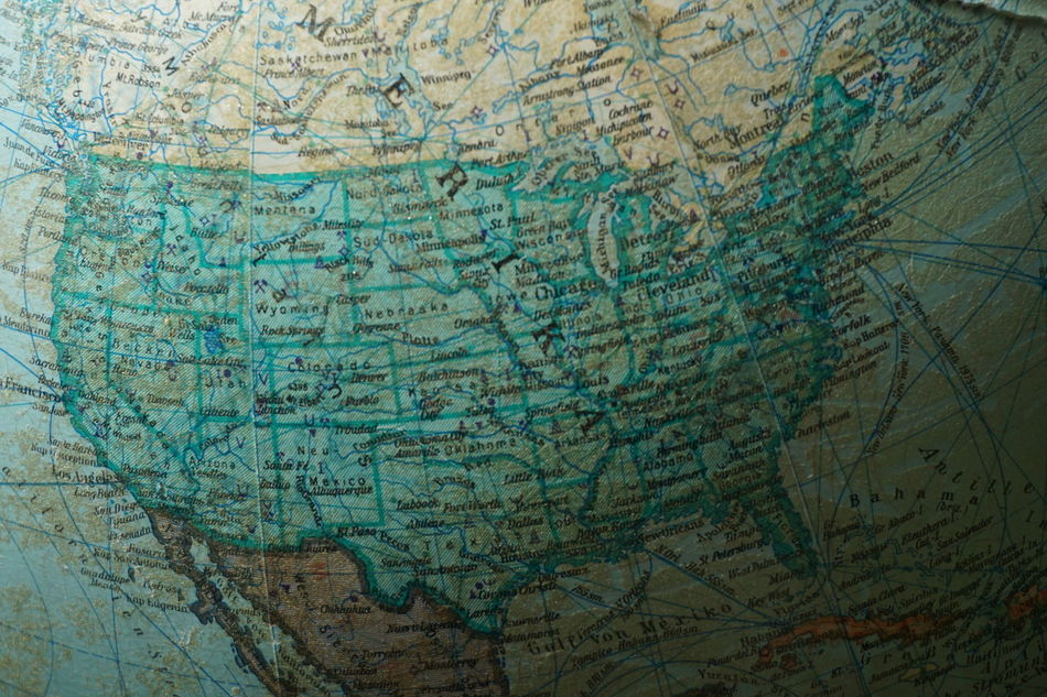Old globus map of America America Backgrounds Close-up Day Earth Globus Ink Map Maps No People Old Rough Textured  USA Vintage World