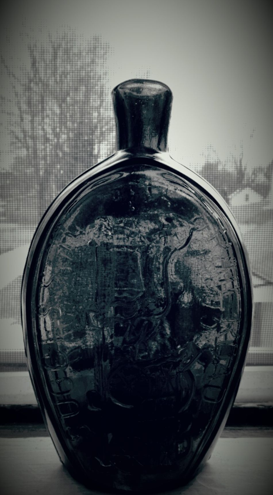 Old Railroad Hand Blown Glass Wiskey Bottle Portrait Of America In Last Century OpenEdit Black And White Photography