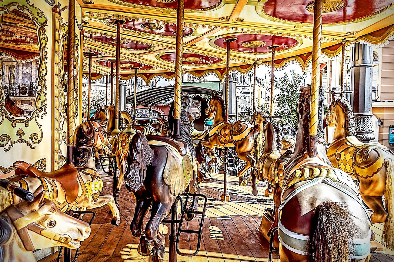Amusement Park Ride Amusementpark Arts Culture And Entertainment Carousel Carousel Horses Hdrphotography Horse Leisure Activity No People NostalgieKarussell Outdoors Phantasialand Pretpark Streetphotography