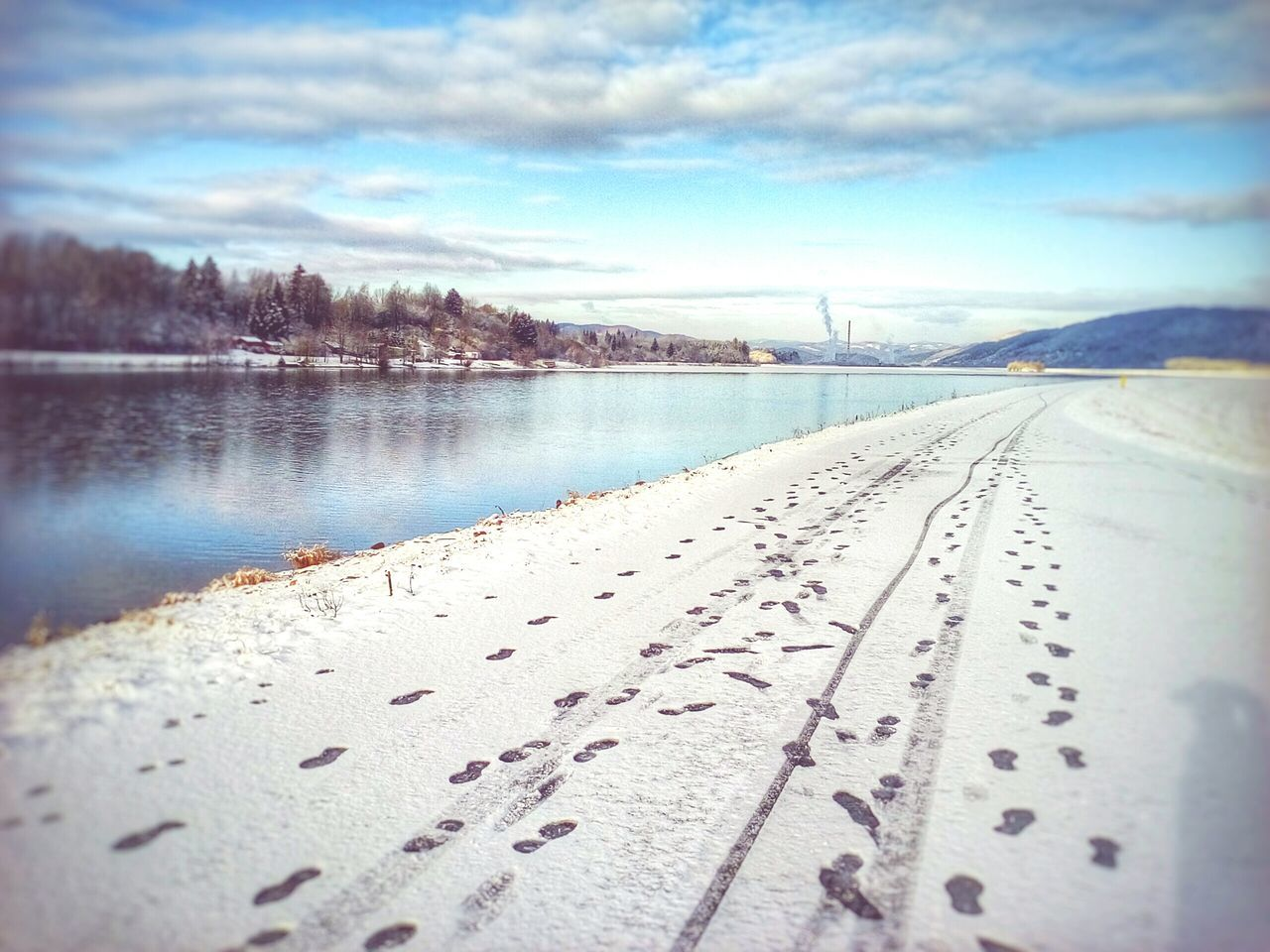 Winter Landscape Snow Fresh Snow Traces In The Snow Footprints In The Snow Where Are You Going? Road White Road River Blue Sky Reflection Water Reflections Heavenly Blue Chimney City In Background Zilina Landscapes With WhiteWall