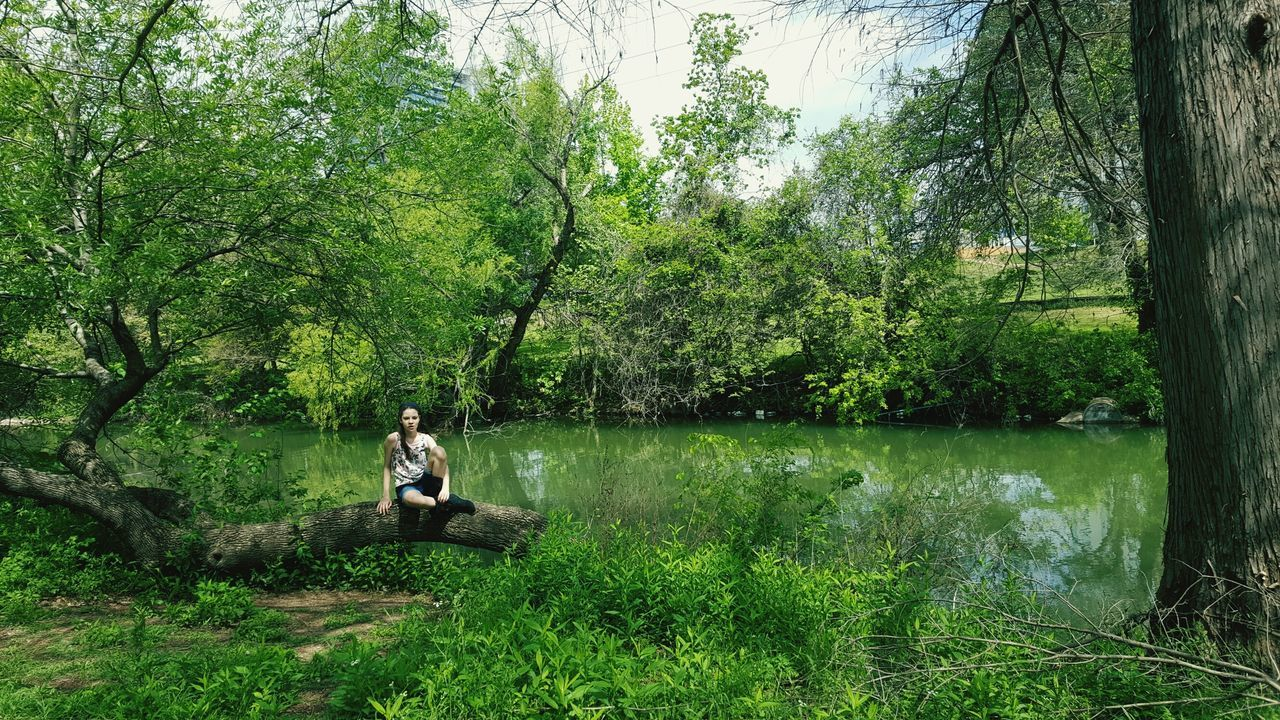 Relax in Green Tree Growth Full Length Green Color Leisure Activity Real People Nature Lifestyles One Person Beauty In Nature Outdoors Day Green Water People Beautiful Nature Tranquility Model Scenics Pretty Photograph Capture The Moment Smallmoments Forest River Women Around The World The Great Outdoors - 2017 EyeEm Awards
