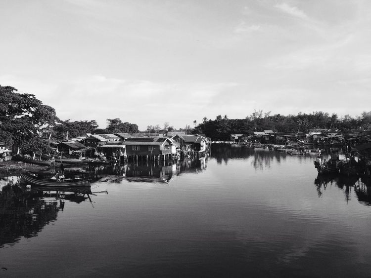 (B&W) the floating village of fisherman Built Structure Architecture Building Exterior Water Reflection Outdoors Sky Waterfront Day Lake Tree Nature No People Floating House Fisherman Fishing Fisheries Thailand Fishing Boat Fishing Village