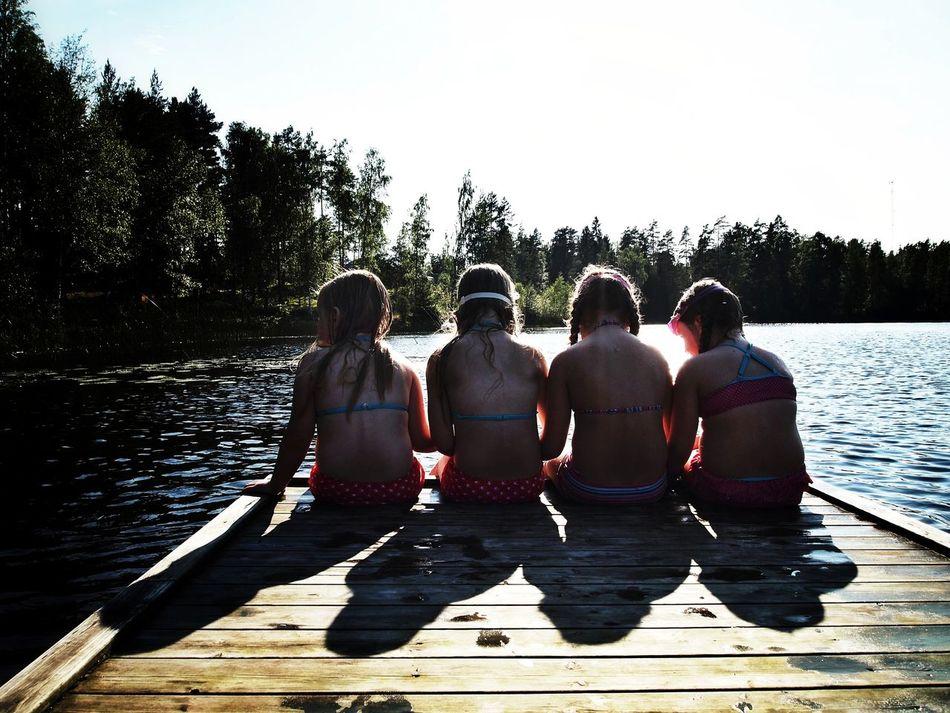 Best friends... Friends Friendship Children Photography Four People Rear View Bikini Sweden Bath Swimingsuit Girls
