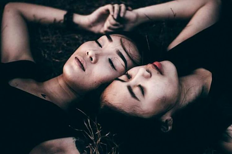 Dark Darkness And Light Lying Down Emotional Photography Emotions Real People Emotional Photos Grass Conceptual Photography  Beautiful People Beautiful Woman First Eyeem Photo Females EyeEm Best Shots Women Touching Two People Eyes Closed  Beauty Young Adult Togetherness