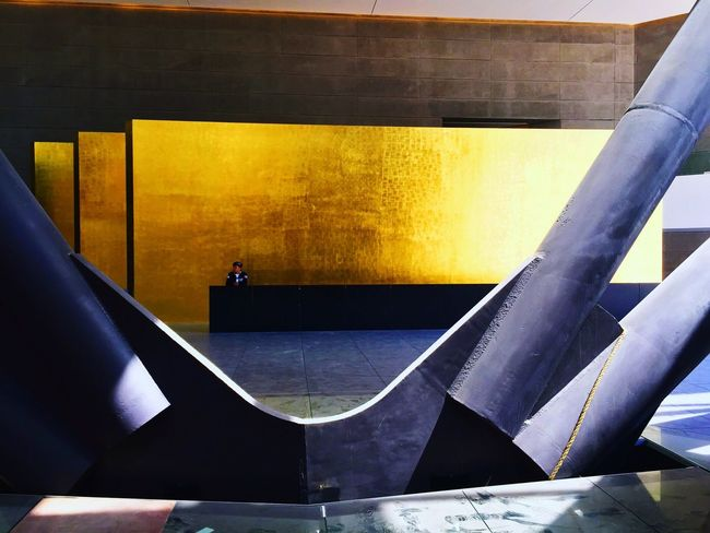 Architecture Contemporary Built Structure Day Mexico City Building Lobby Gold Concrete Steel Guard Duty People Wall Reception Reforma Torre Tower