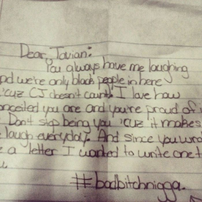 The letter I got during 3rd block. Conceited Beyourself Thanks  Compliments workit goodtimes