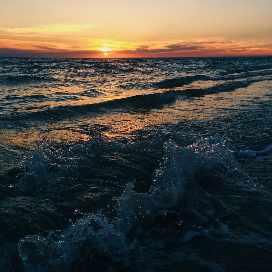 Sunset on the beach. One of the most beautiful I've ever seen Sunset Sea Beauty In Nature Nature Wave Water Scenics Beach No People Tranquility Tranquil Scene Outdoors Sky Motion Day