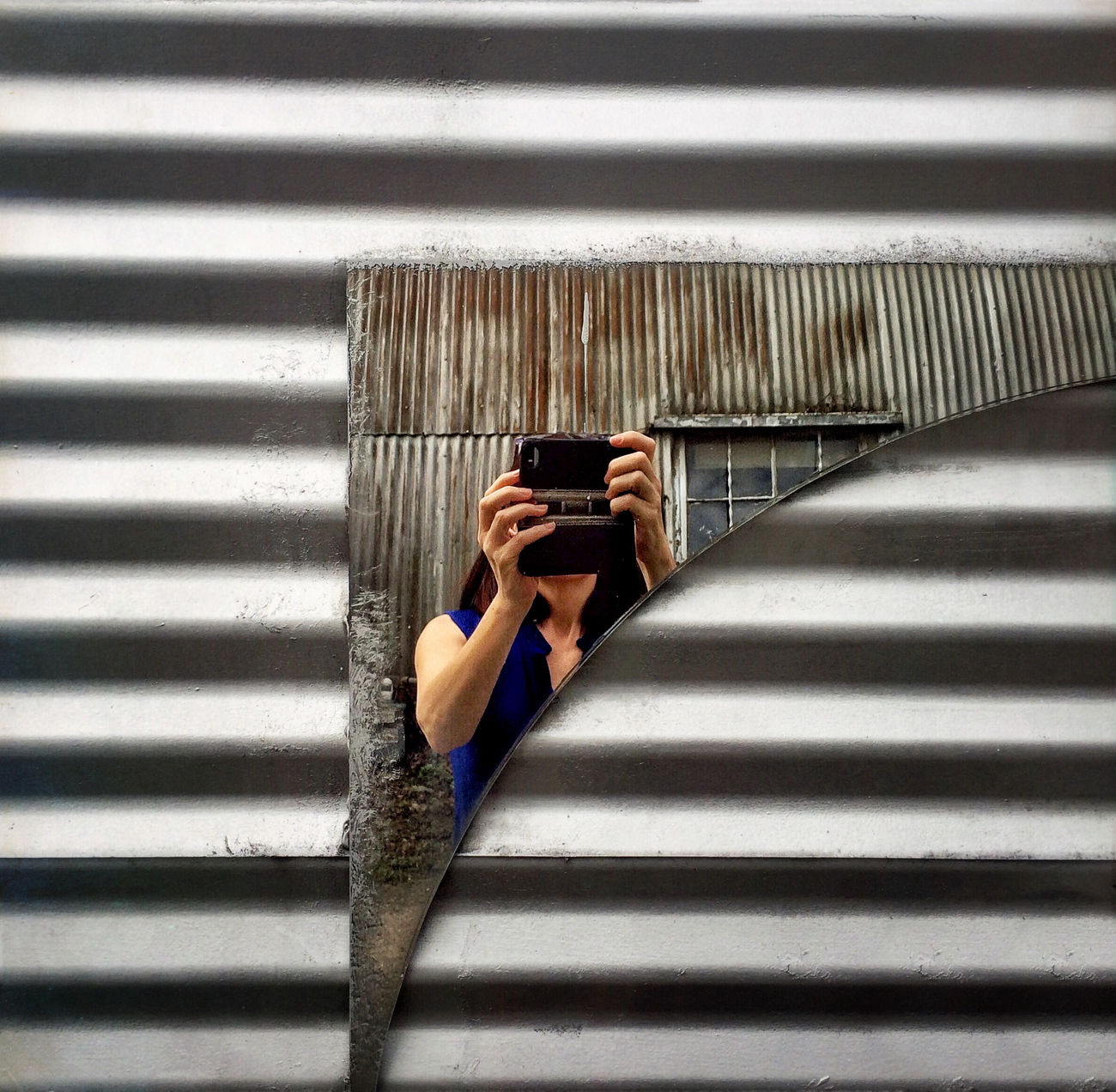 Self Portrait Around The World Reflection Broken Glass BookBook Shot On IPhone Self Portrait Corrugated Metal IPS2016Texture
