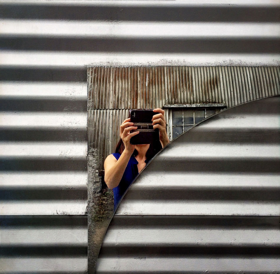 Self Portrait Around The World Reflection Broken Glass BookBook Shot On IPhone Self Portrait Corrugated Metal IPS2016Texture