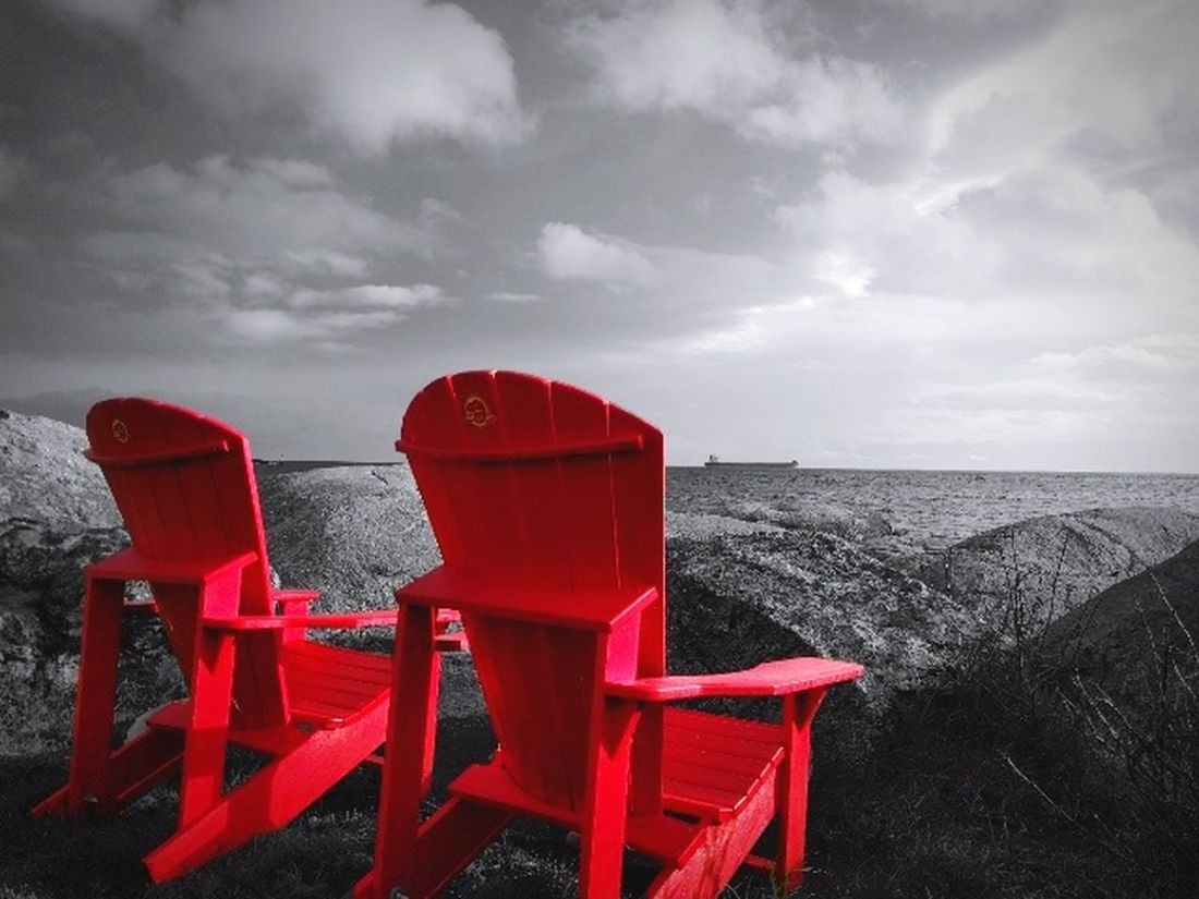 Sometimes you just need to look at life in colour, not everything has to be black and white. Red Chair Outdoors Beach Fort Rodd Hill Ocean Ocean View Water Life In Color British Columbia Vancouver Island No People Cloud - Sky Archival Nature Sky