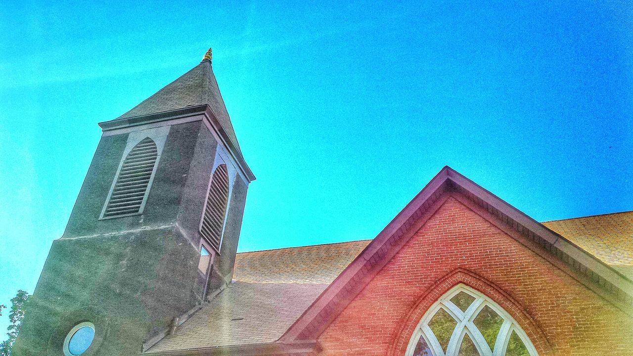 architecture, built structure, building exterior, low angle view, religion, place of worship, day, spirituality, no people, blue, outdoors, clear sky, sky