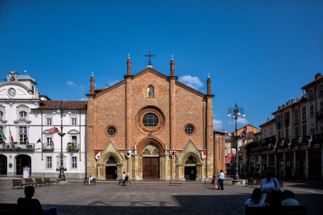 Arch Architecture Asti Asti Italy Blue Building Exterior Built Structure Central Square City Clear Sky Day Façade Italy Large Group Of People Outdoors Place Of Worship Real People Religion Sky Spirituality Square Travel Destinations