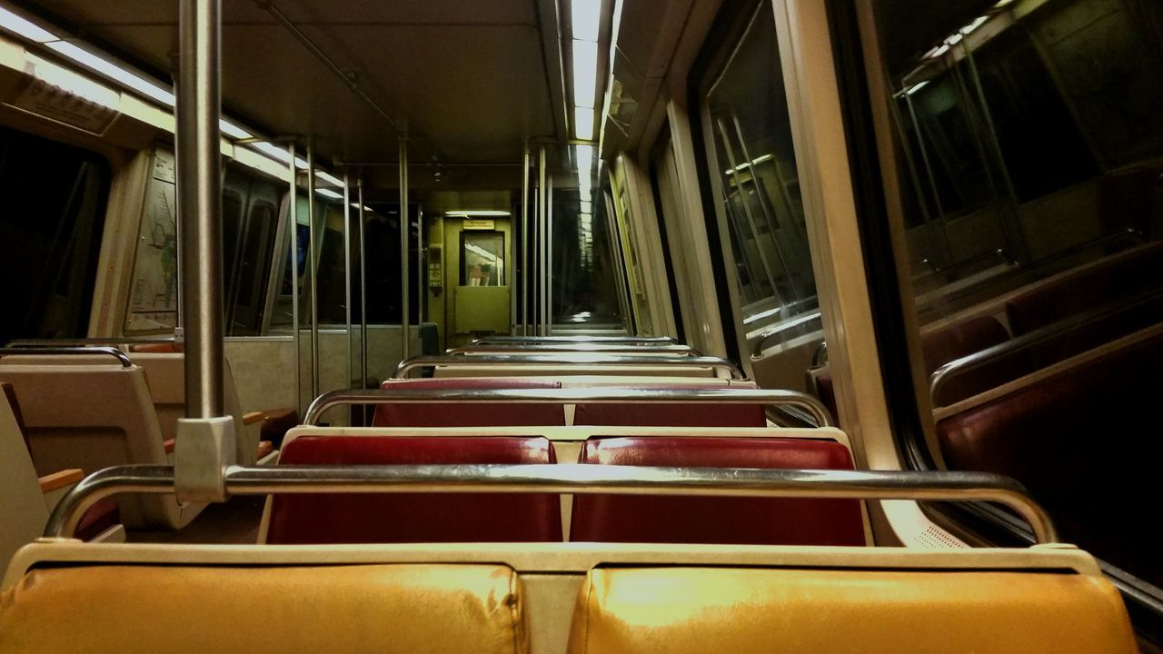 Empty Absence Chair Indoors  Narrow Seat Window Public Transport Long In A Row Aisle Order Repetition Washington, D. C. Public Transportation Metro Diminishing Perspective Red Train Interior