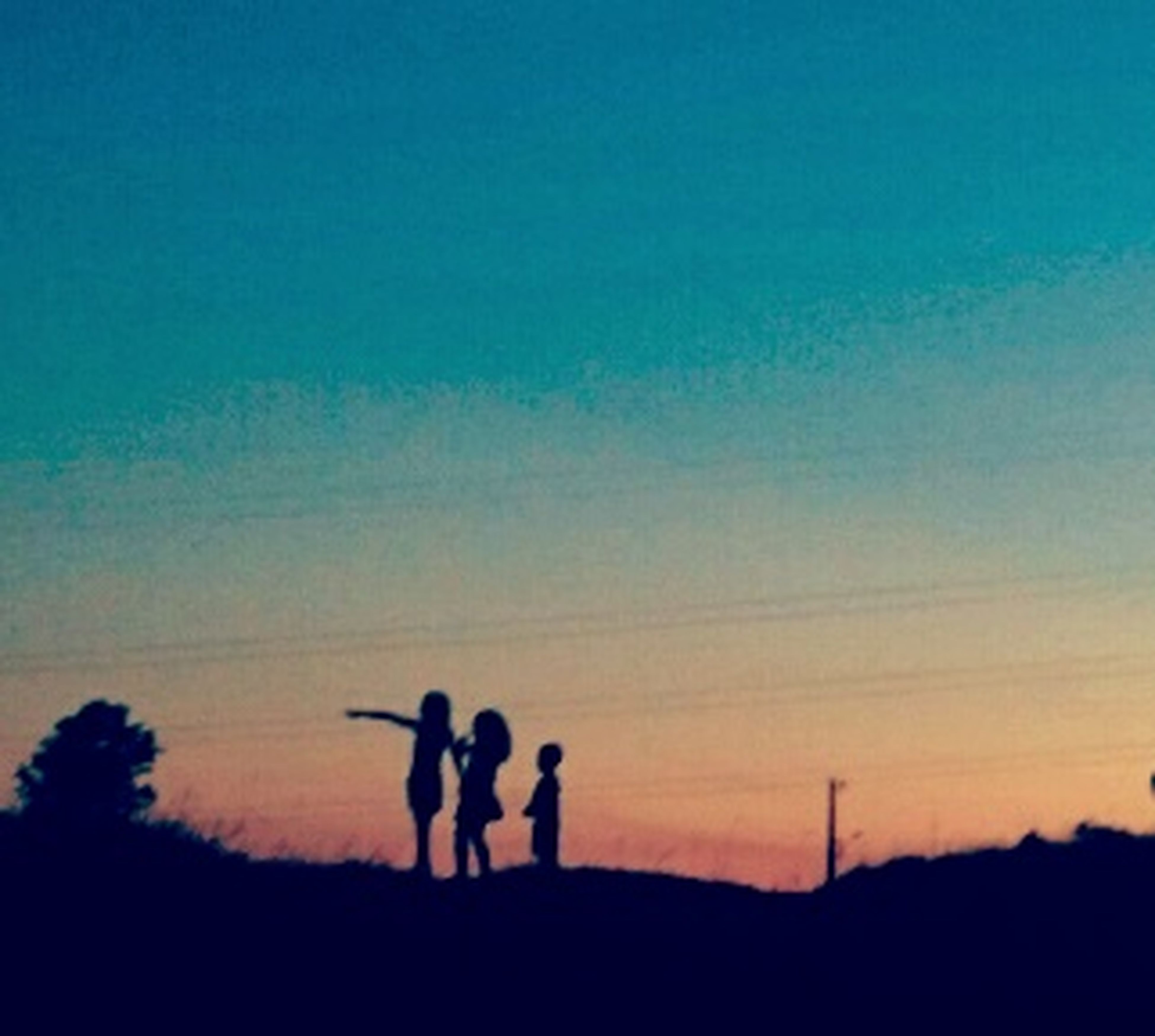 silhouette, sunset, men, leisure activity, lifestyles, landscape, copy space, sky, togetherness, tranquil scene, tranquility, beauty in nature, scenics, field, nature, orange color, standing, dusk