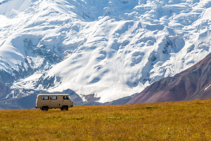 Kyrgyzstan Pamir Mountains Adventure Beauty In Nature Cold Temperature Day Glacier Landscape Mountain Mountain Range Nature No People Outdoors Pamir Scenics Snow Snowcapped Mountain Transportation Travel Travel Destinations Vacations Winter