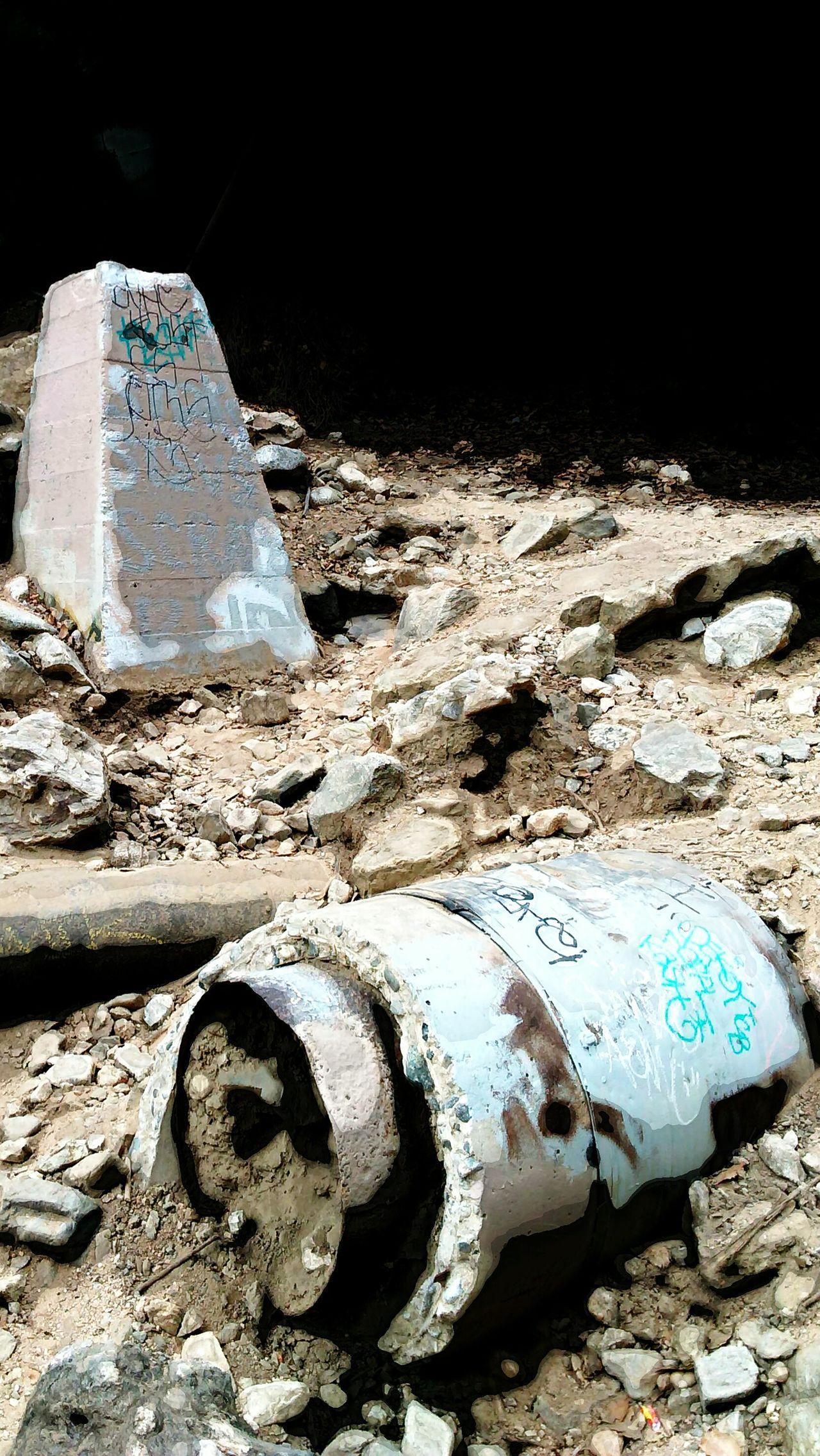 ,broken bridge ,Grafitti Cider Blocks,concrete ,