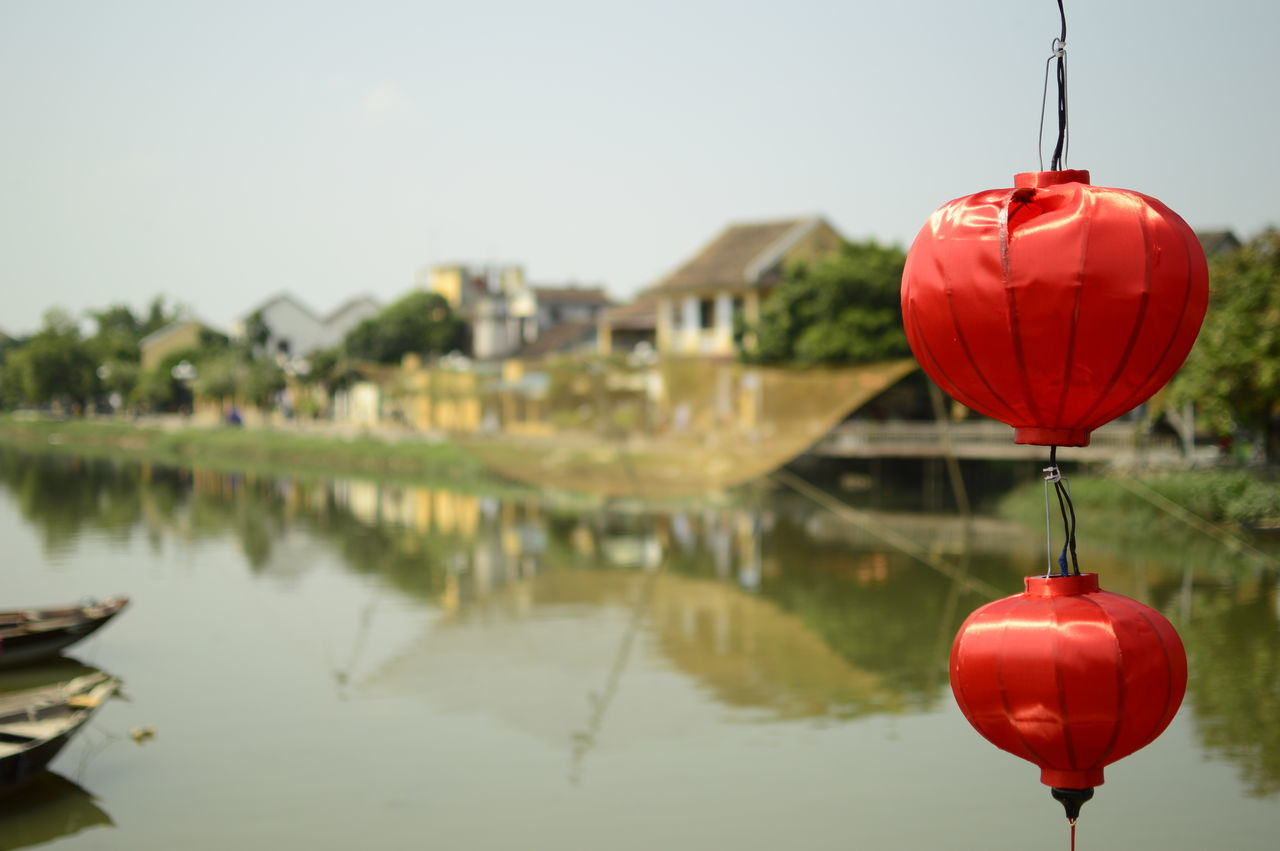 Wonderful lanterns in Hoi An, Vietnam. Creativity Decoration Focus On Foreground Hanging Hoi An Lake Lampignon Lantern Multi Colored No People Red Reflection Sky Red Color Standing Water Tranquil Scene Tranquility Vietnam Vietnamese Lantern Water Waterfront