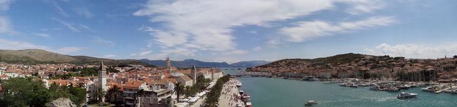 Aerial View Architecture Blue Building Exterior Built Structure City Cloud - Sky Croatia Dalmatia Day Harbor High Angle View Outdoors Panoramic Panoramic Photography Scenics Sea Sea And Sky Sky Tourism Town Travel Destinations Trogir Water Waterfront