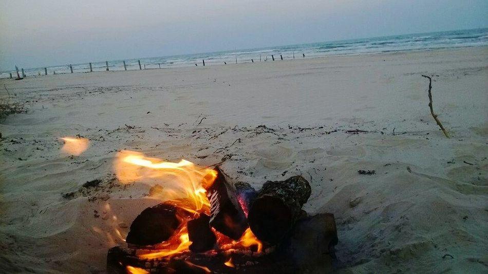 Camping at the beach.