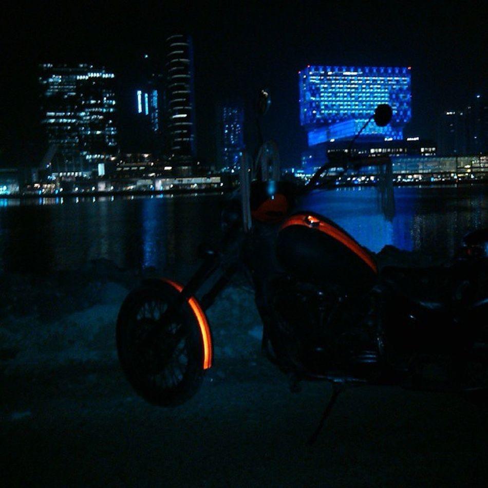 Biketime Reflection Happiness City night lights skyline bike summer abudhabi alreem abudhabilovers instaabudhabi united_arab_emirates ♥