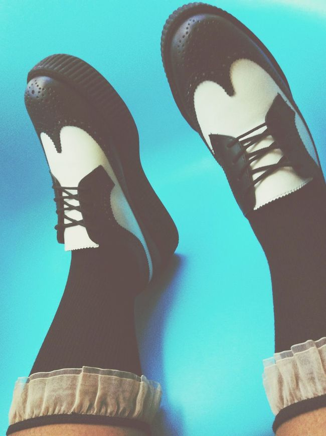 Creepers Shoes Wingtips Brogues Black And White