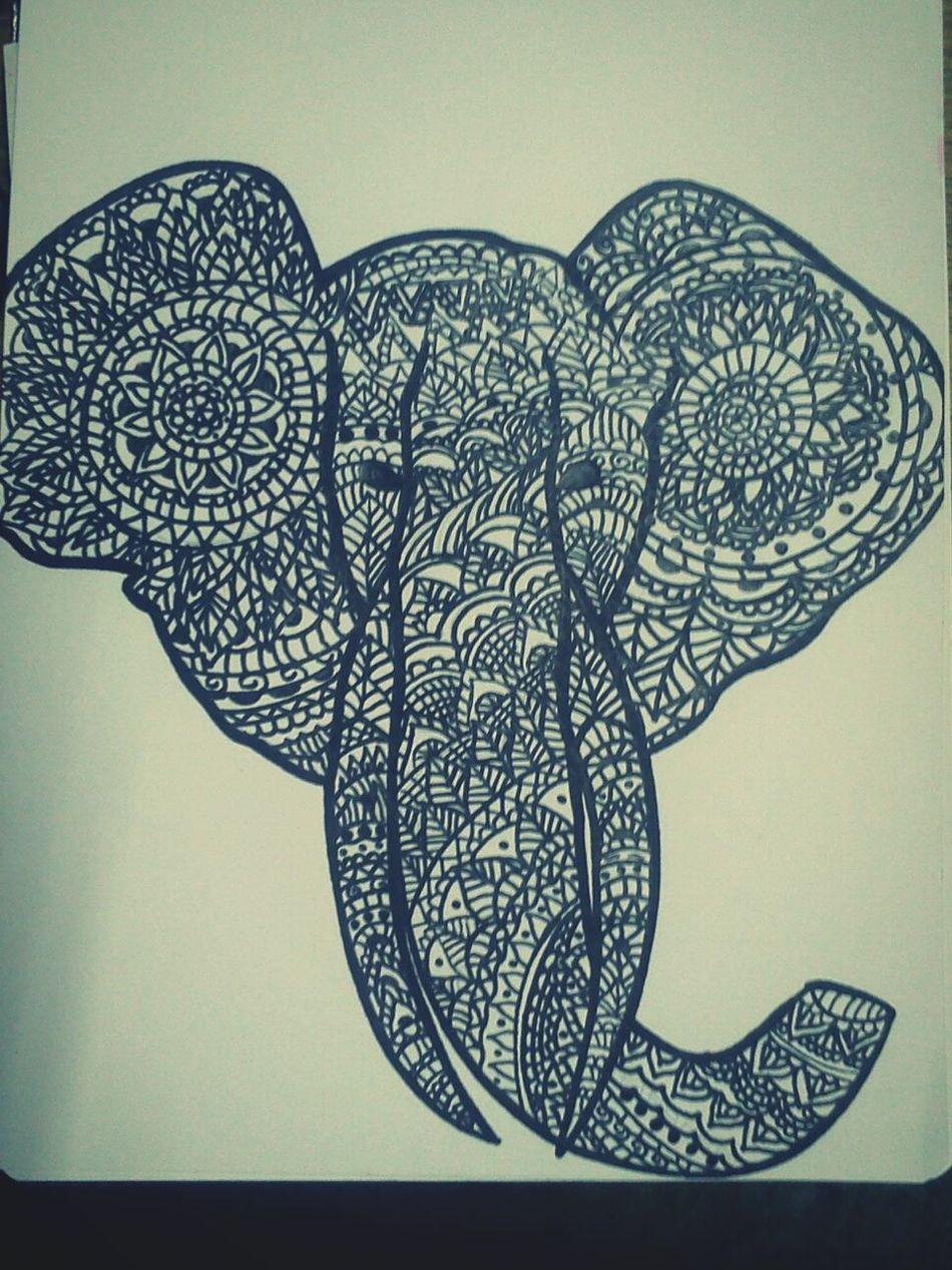 Zentangleart Elephant ZentangleInspiredArt Sharpie Art