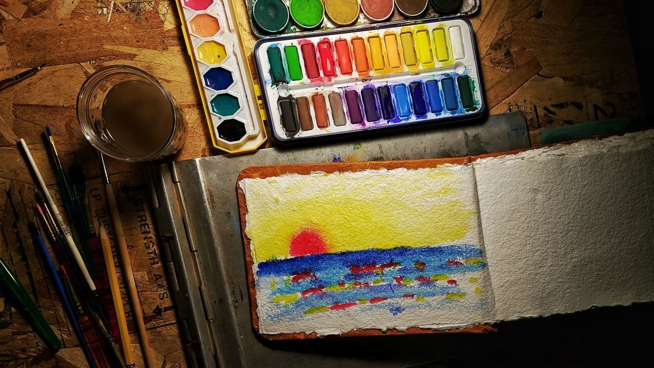 multi colored, art and craft, paint, variation, palette, indoors, large group of objects, no people, color swatch, close-up, day
