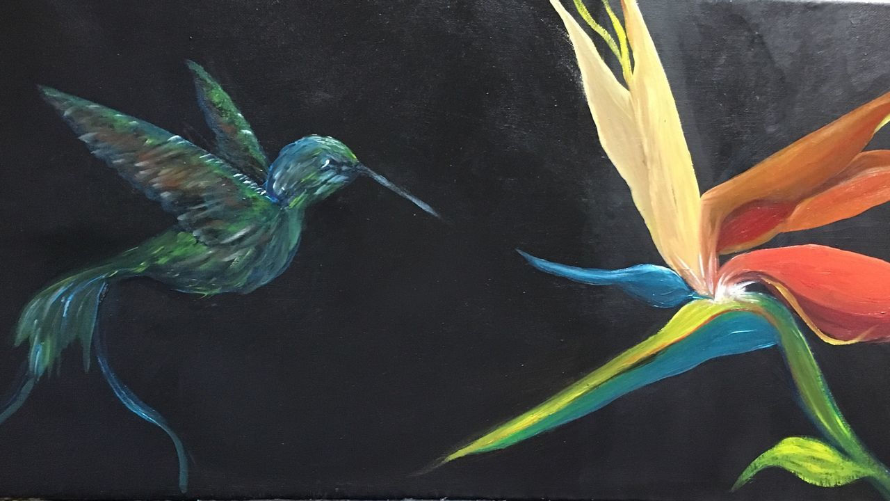 Hummingbird Fragility Animal Themes Nature Flower Beauty In Nature Art Painting My Art Birdofparadise