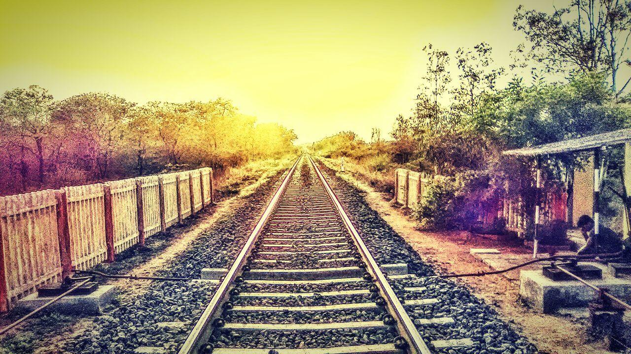 railroad track, transportation, rail transportation, tree, railway track, the way forward, no people, outdoors, clear sky, sky, day, nature