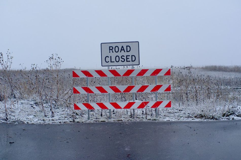 January 30, 2016 / South Fargo, North Dakota Close-up Day Fall Fargo Nature Nature No People Outdoors Road Sign Sky Snow South Fargo Warning Sign Winter