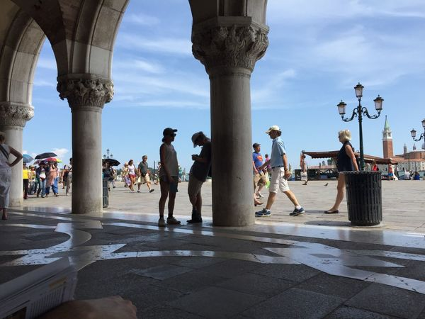 EyeEm Selects venice Sky Real People Large Group Of People Architectural Column Architecture Built Structure Lifestyles Day Leisure Activity Men Outdoors Women Water City People