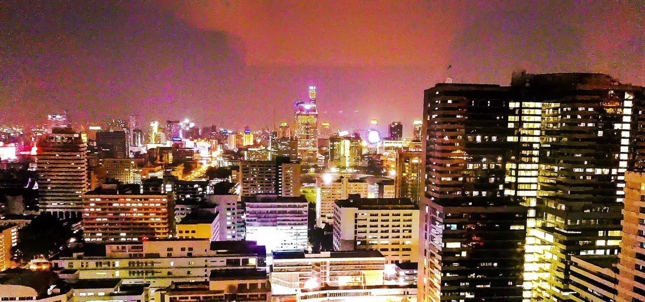 Night Skyline Of Bangkok By Night hotel window view City Building Exterior Architecture Cityscape Illuminated Built Structure Skyscraper No People Sky Modern Travel Destinations Outdoors Night Urban Skyline