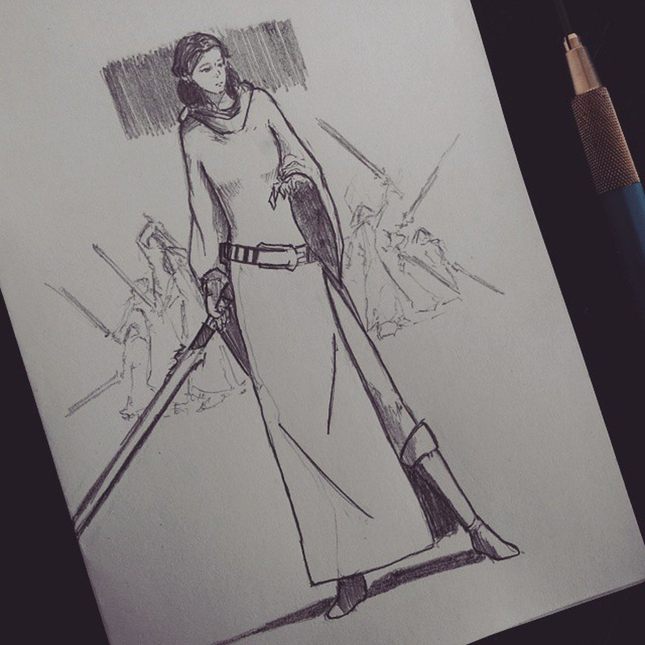 Lunch doodle. Jedi Leia Organa Solo Starwars MayThe4thBeWithYou Jedi Princess leia lightsaber