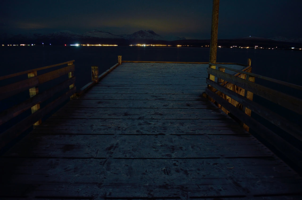 night, pier, wood - material, outdoors, water, nature, illuminated, tranquility, jetty, sea, beauty in nature, no people, scenics, wood paneling, sunset, sky