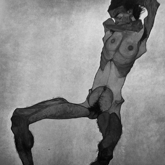 Schiele  Egonschiele Seatedmalenude 1910