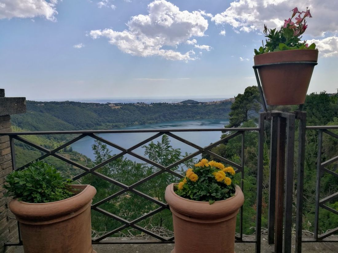 Panorama Terrace Balcony Beauty In Nature Day Flower Freshness Growth Italy Lake Landscape Nature Nemi Lake No People Outdoors Plant Potted Plant Sky Sky With Clouds Travel Destinations Tree Vases Vases With Flowers Vulcanic Lake