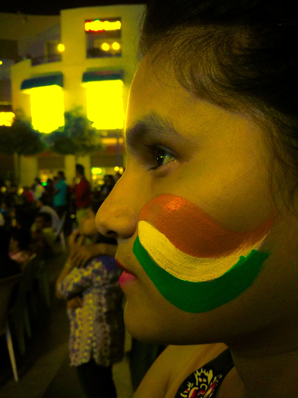 To enjoy the moments that come along... Women Who Inspire You Watching Cricket Face Paint Supporting The Team Engrossed INDIAN FLAG COLOURS Potrait Of A Friend Potrait Of Woman People Photography Close Up Photography