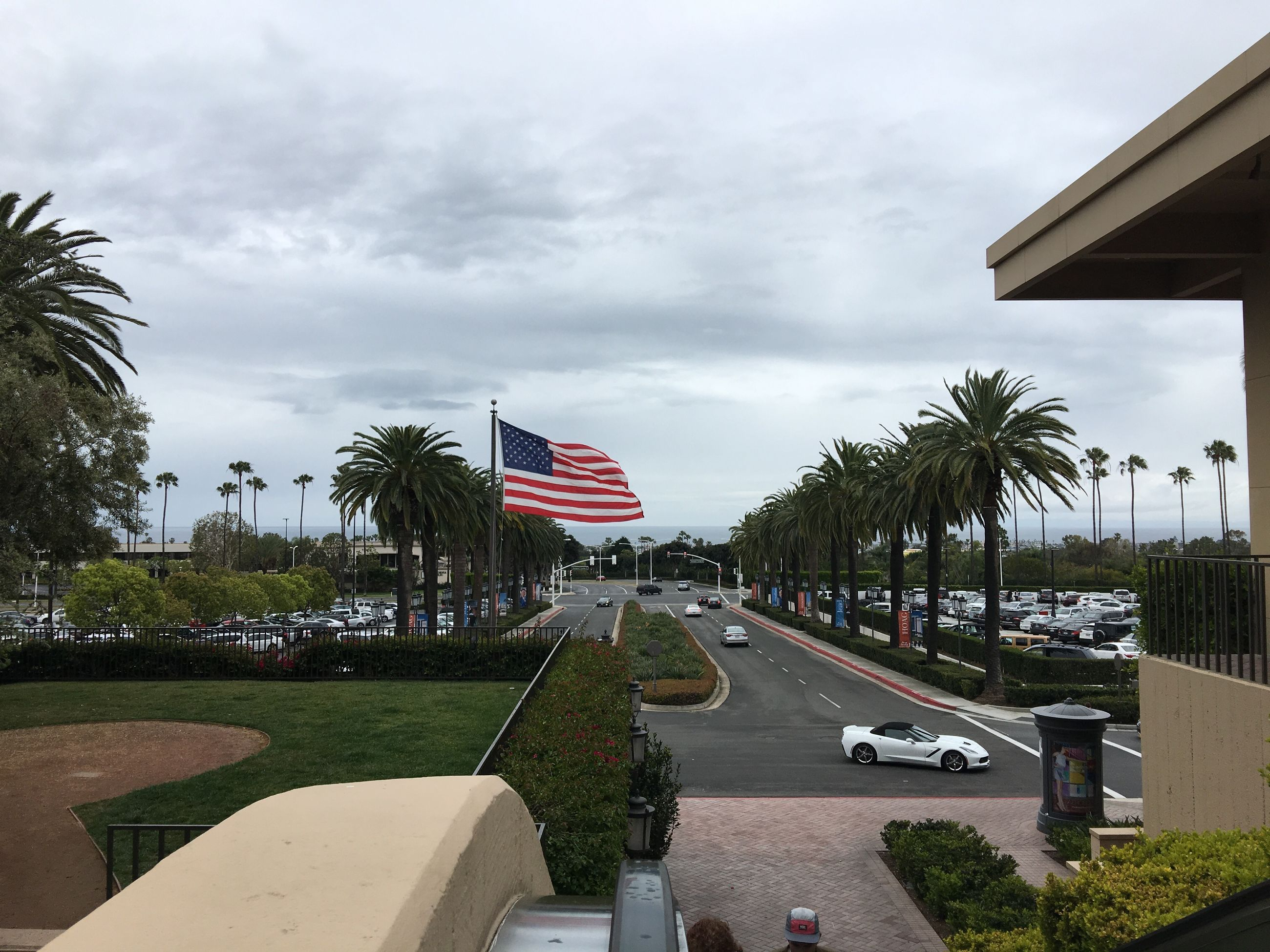 patriotism, flag, tree, sky, cloud - sky, striped, growth, no people, car, outdoors, built structure, palm tree, day, nature, stars and stripes, architecture