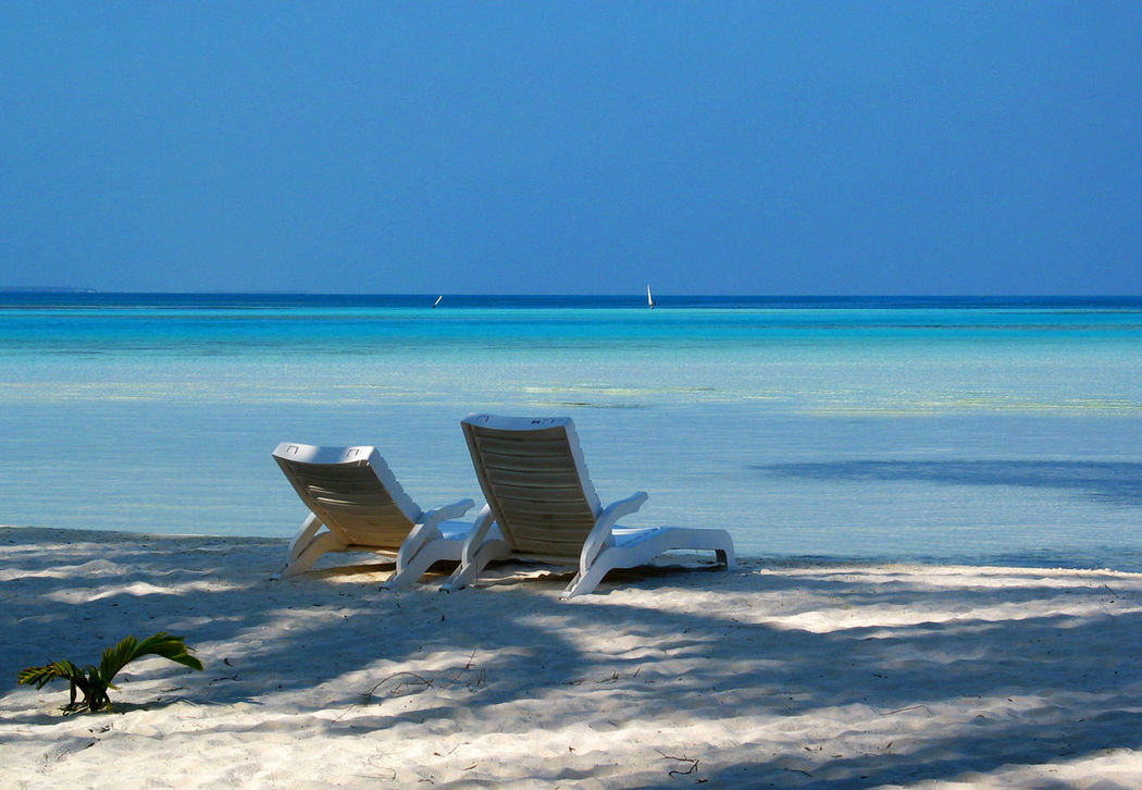 Beach Beauty In Nature Blue Clear Sky Copy Space Blue Wave Idyllic Lounge Chair Maldives Nature Relaxation Sand Scenics Sea Shore Sky Sun Bed Sunlounger Tranquil Scene Tranquility Tropical Paradise Vacations Water