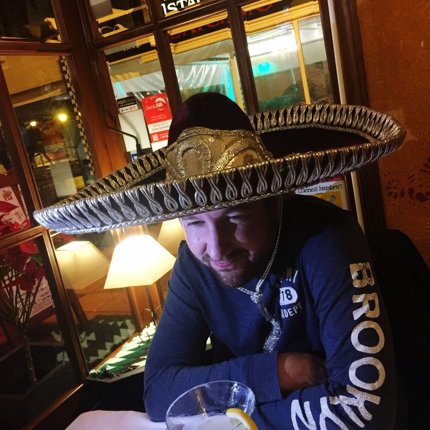 One Man Only Only Men One Person Illuminated Adults Only People Night Indoors  Headwear Adult Tex-Mex Restaurant Sombrero Mexicano Tex-Mex Hat