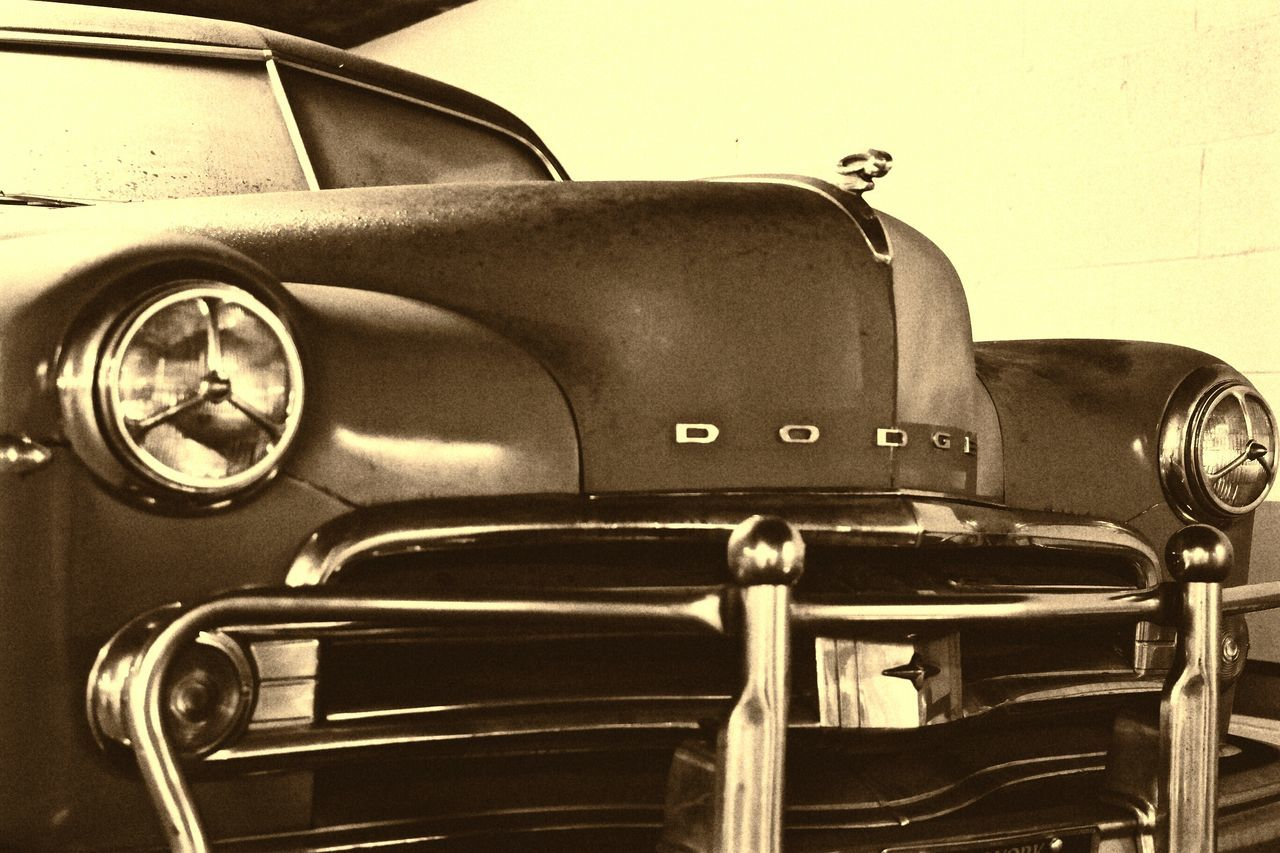 Vintage Cars Vintage Photo Old-fashioned Close-up No People Indoors  Day Dodge Classic Classic Car Sepia Sepia Photography Sepiaphoto