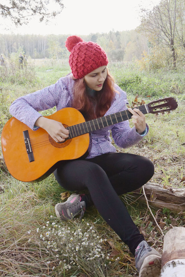 Autumn Campaign Casual Clothing Day Eye4photography  Field Focus On Foreground Forest Full Length Grass Grassy Guitar Leisure Activity Nature Outdoors People Person Relax Relaxation Sitting Songs Songs I Love Toddler  Young Adult