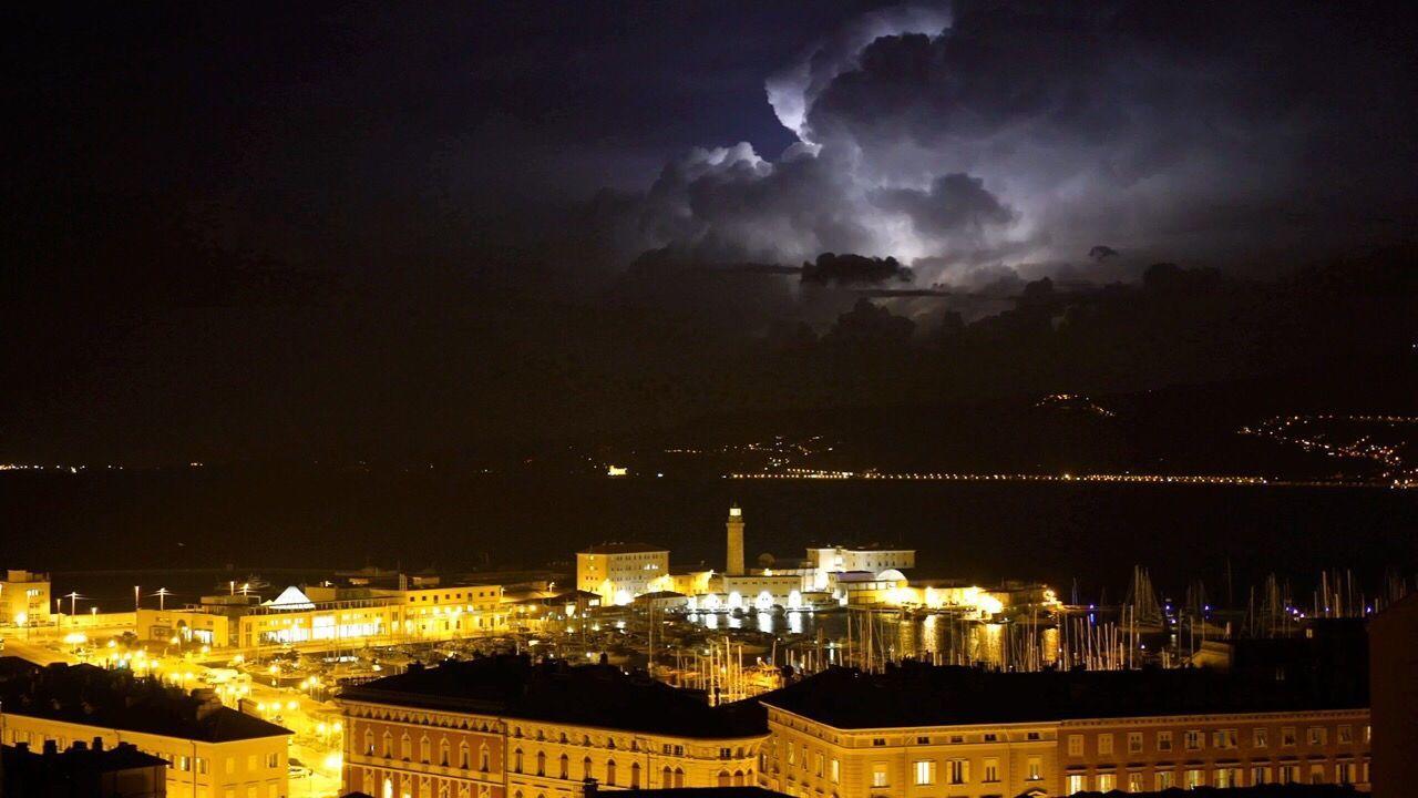 Adriatic Sea Miramare Castle Storm Lightening Clouds Hello World Sea And Sky Night Gulf Of Triest Trieste