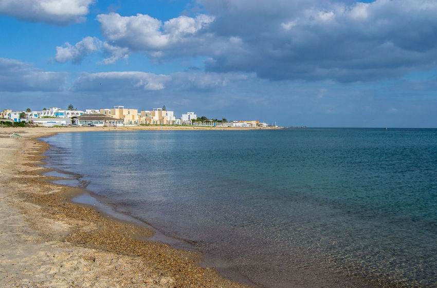 Nabeul's Beach Mediterranean  Tunisia Architecture Beach Beauty In Nature Building Exterior Built Structure Cloud - Sky Day Horizon Over Water Nabeul Nature No People Outdoors Scenics Sea Sky Tranquil Scene Tranquility Tunisie Water