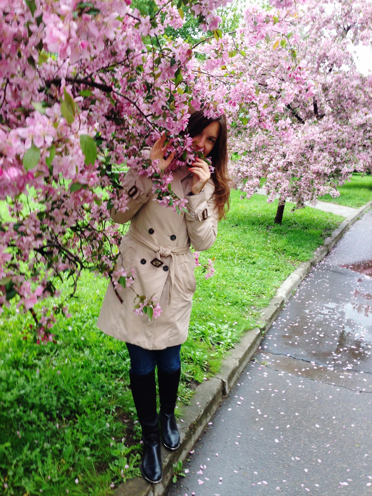 Standing Nature Outdoors Tree Blooming Blossom Spring Spring Flowers Springtime Young Women Moscow Park Blossom Tree Pink Flowers Real People